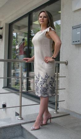 Rochie Iulia, broderie gri-petrol [1]
