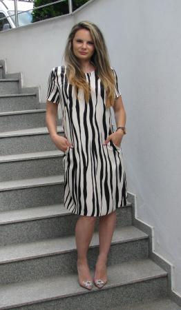 Rochie Mihaela, bej cu negru [0]