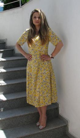 Rochie Olguta, galben cu flori [0]