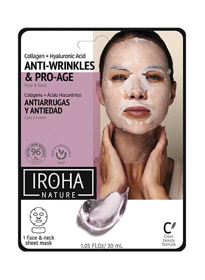 Mască pentru față și gât, Iroha Cotton Anti-Wrinkles & Pro-Age