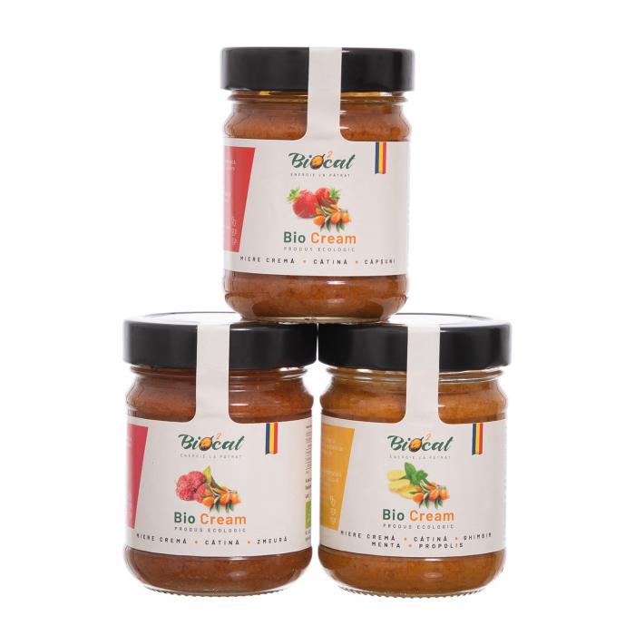 Biocream - cremă tartinabilă din cătină cu cremă de miere, pulbere de cătină, mentă, ghimbir, și propolis [4]