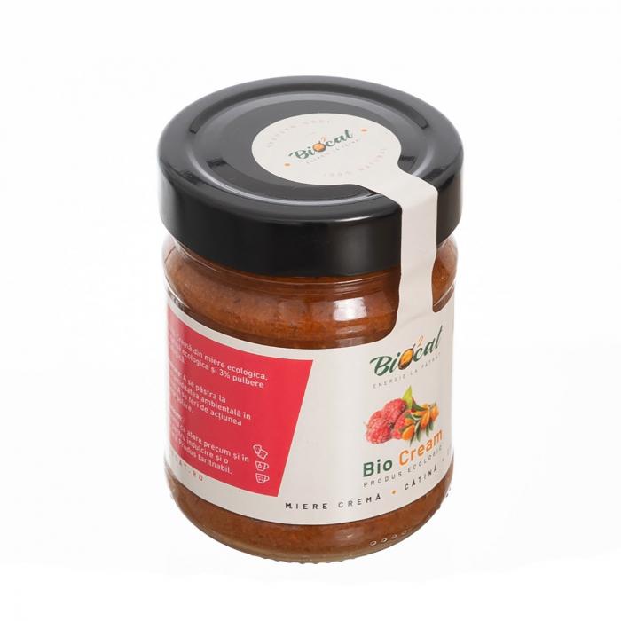 Biocream - cremă tartinabilă cu pulbere de cătină, cremă de miere, pulbere de zmeura, 220 gr [3]