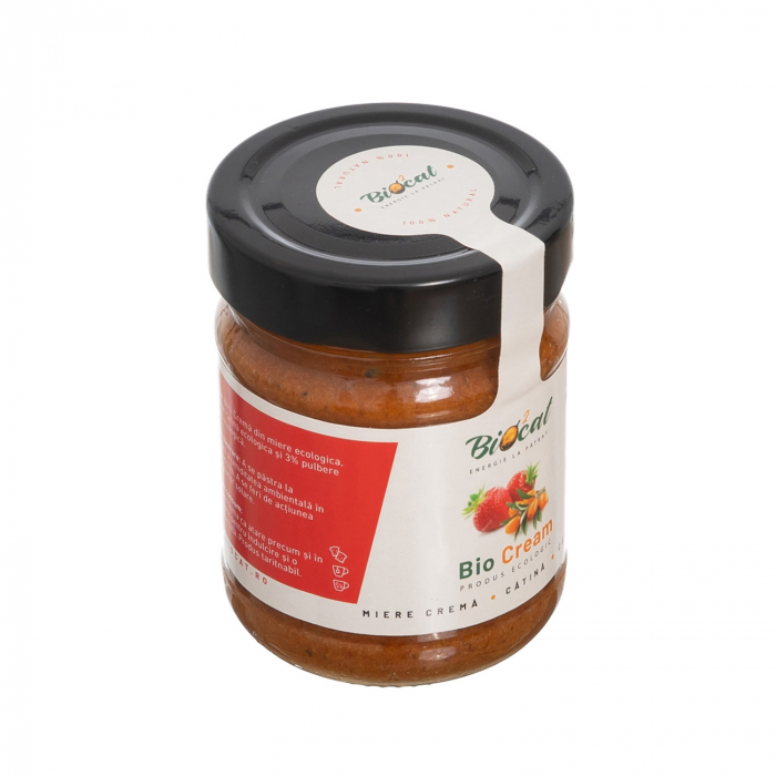 Biocream - cremă tartinabilă din miere, căpsuni și pulbere de cătină,  220 gr [3]
