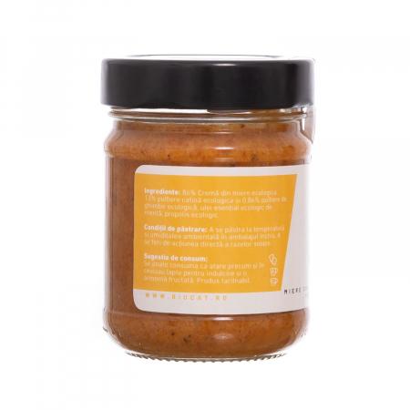 Biocream - cremă tartinabilă din cătină cu cremă de miere, pulbere de cătină, mentă, ghimbir, și propolis [1]