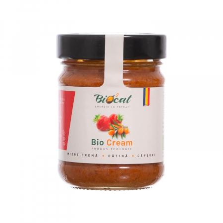 Biocream - cremă tartinabilă din miere, căpsuni și pulbere de cătină,  220 gr [0]