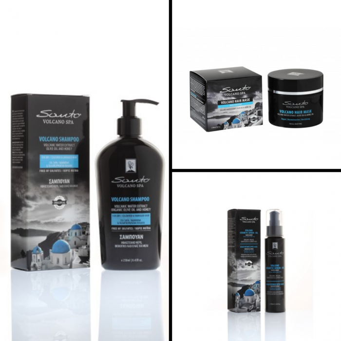 Șampon pentru păr vopsit, uscat, deteriorat + Mască de păr Santo Volcano Spa+ Cosmetic Serum – Ulei pentru corp și păr [0]