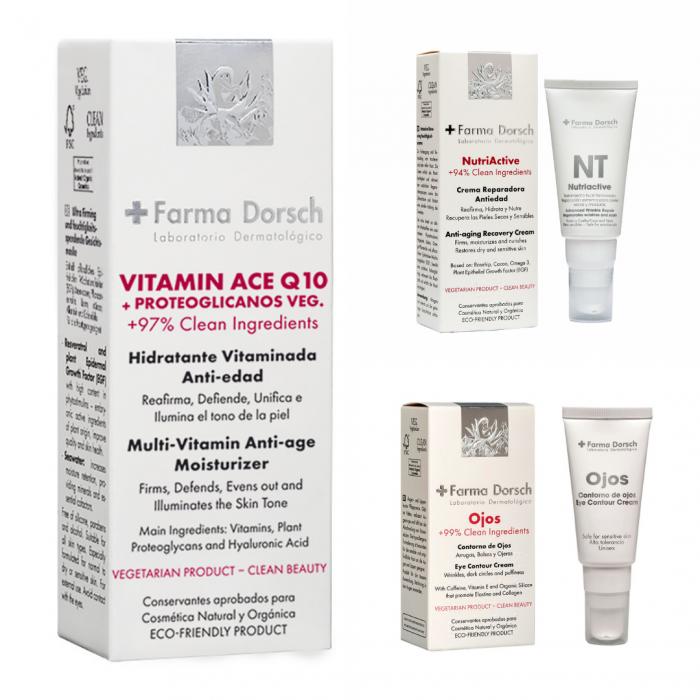 Cremă hidratantă cu tratament antioxidant Vitamine A, C, E +Q10 + Cremă antiage de noapte , Nutri Active+ Cremă pentru conturul ochilor cu factor de creștere epitelială [0]