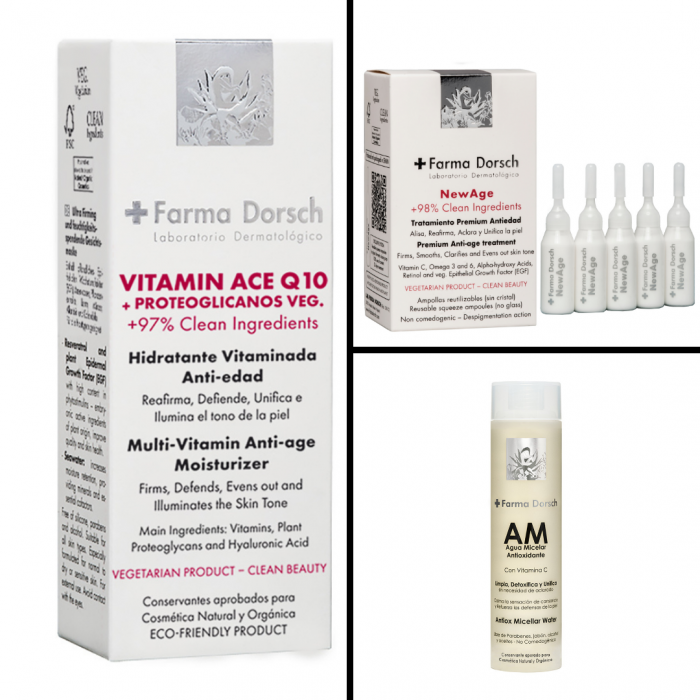 Cremă hidratantă cu tratament antioxidant Vitamine A, C, E +Q10 + Tratament anti-age intensiv monodoze New Age+ Apă micelară antioxidantă cu Vitamina C [0]