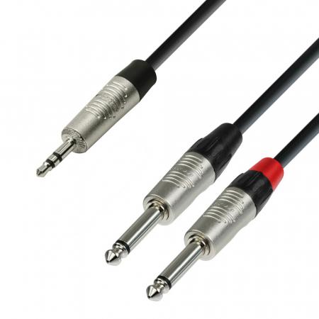 K4 YWPP 0300 - Cablu audio cu conectori Jack 3.5 mm stereo / 2 x Jack 6.3 mm mono REAN 3 m [0]