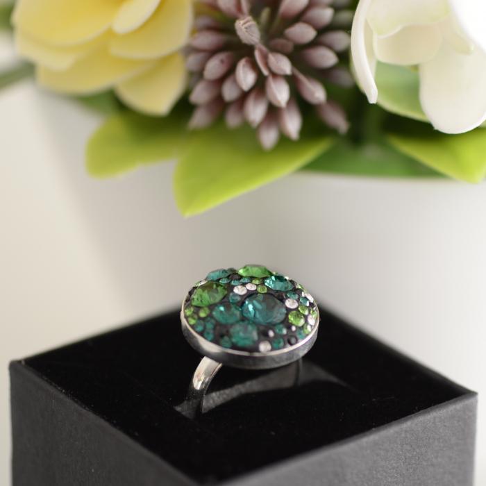 Inel oversized verde din argint cu cristale [0]