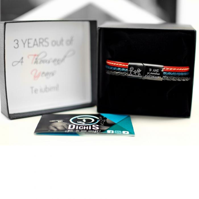 Brățară de piele Premium - crom negru, Anivesare nuntă (casual) [4]