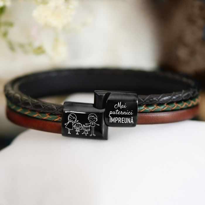 Brățară de piele Premium - crom negru, Mesaj familie (casual) [0]