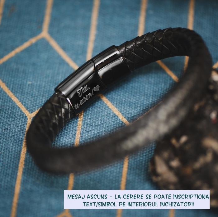 Brățară de piele Premium - crom negru, Mesaj  Now (classic) [1]