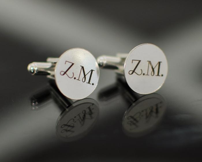 Butoni din argint rotunzi cu inițiale/mesaj/simbol [0]