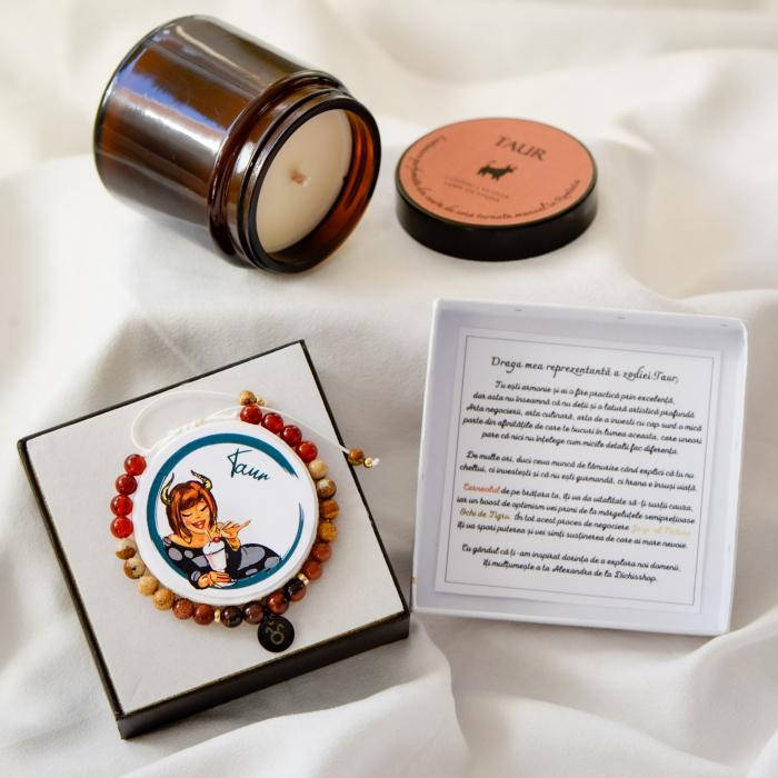 Taur - lumanare parfumata si bratara semipretioasa - pachet cadou zodie [0]