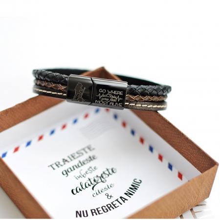 Brățară de piele Premium - crom negru, Mesaj Călător (casual) [1]