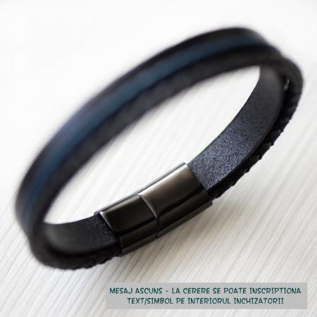 Brățară de piele Premium - crom negru, Mesaj familie (casual) [1]