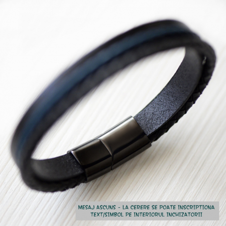 Brățară de piele Premium - crom negru, Personalizabilă (casual) [1]
