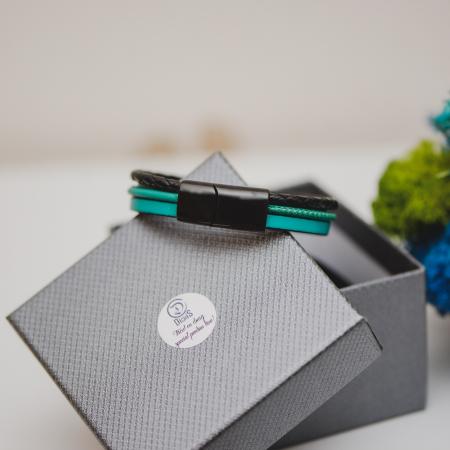 Brățară de piele Premium - crom negru, Personalizabilă (casual) [2]