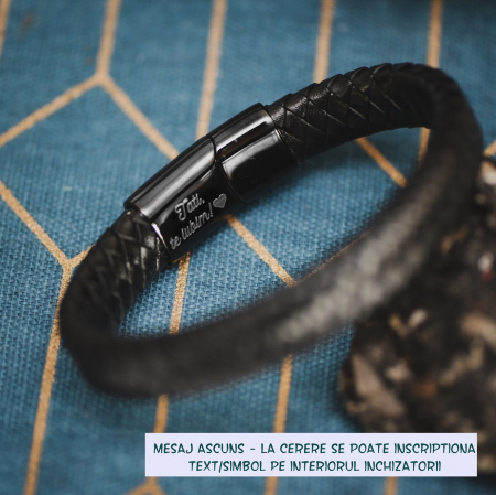 Brățară de piele Premium - crom negru, Personalizabilă (classic) [1]