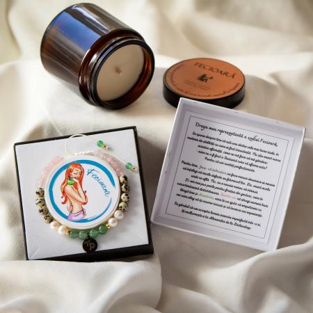 Fecioara - Lumanare Parfumata Si Bratara Semipretioasa - Pachet Cadou Zodie [0]