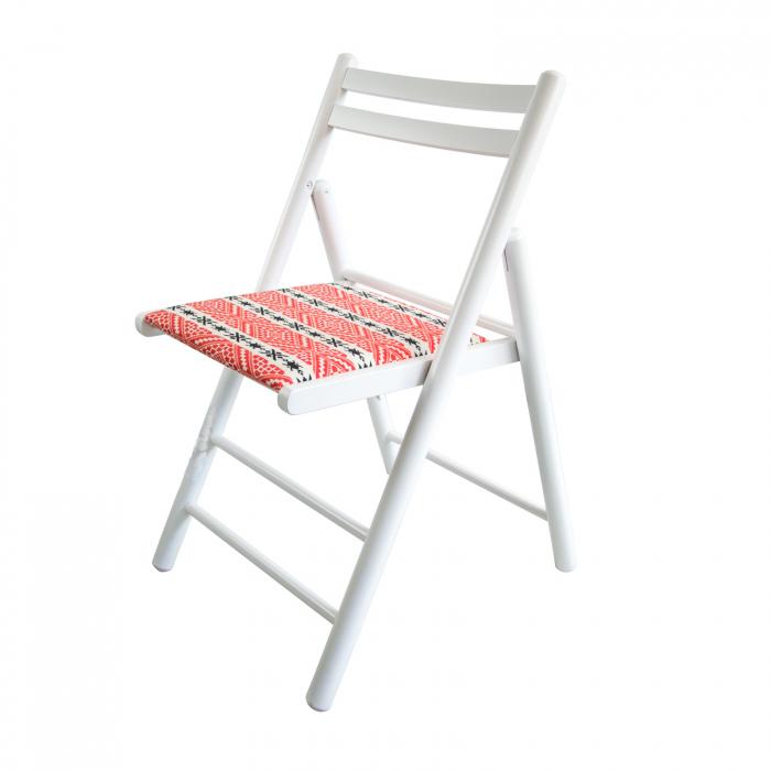 Scaun pliant din lemn Igor RO tapitat alb [2]