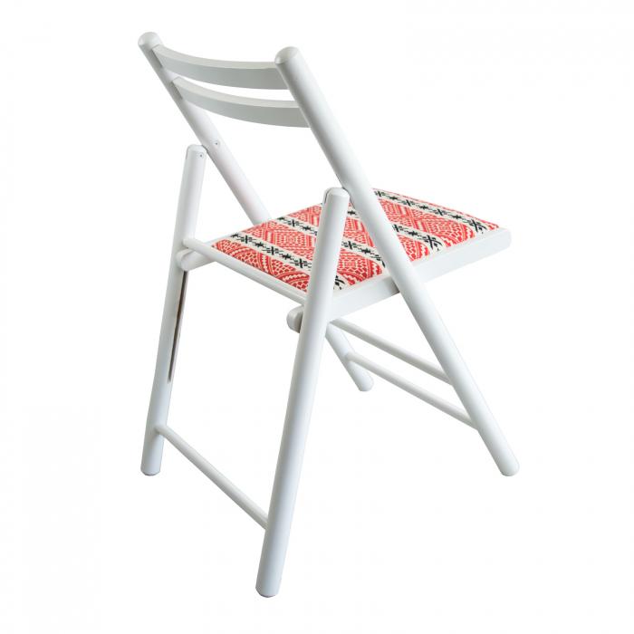 Scaun pliant din lemn Igor RO tapitat alb [1]