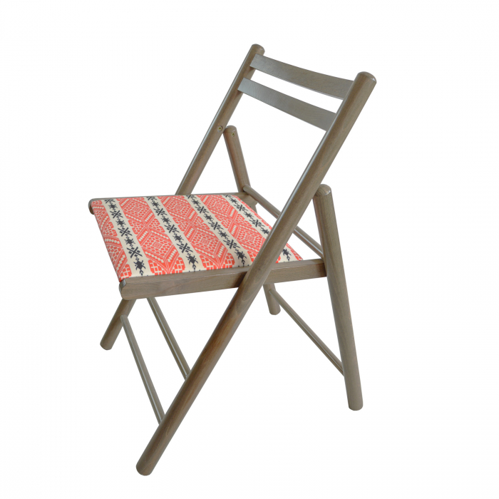 Scaun pliant din lemn Igor RO tapitat maro-trufa [3]
