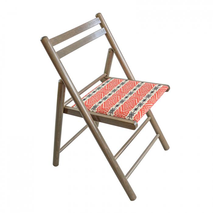 Scaun pliant din lemn Igor RO tapitat maro-trufa [0]