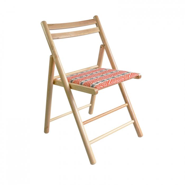Scaun pliant din lemn Igor RO tapitat natur [0]