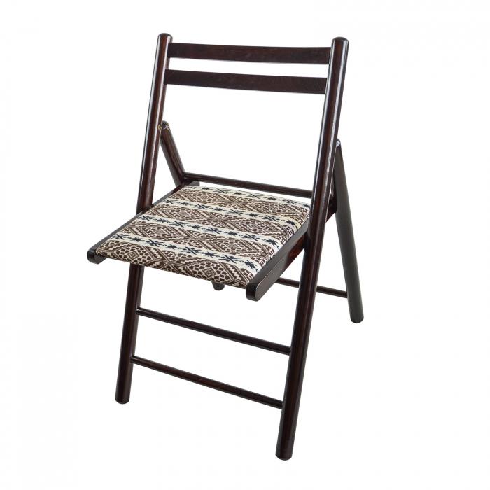 Scaun pliant din lemn Igor RO tapitat nuc ciocolata [3]