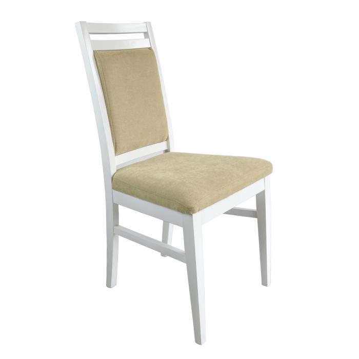 Scaun din lemn Jane tapitat alb [0]