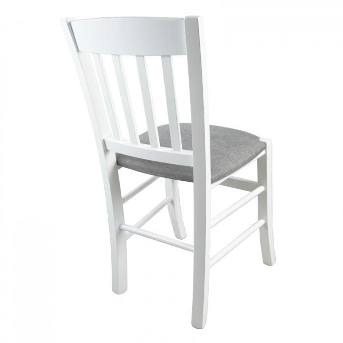 Scaun din lemn Madeira tapitat alb [2]