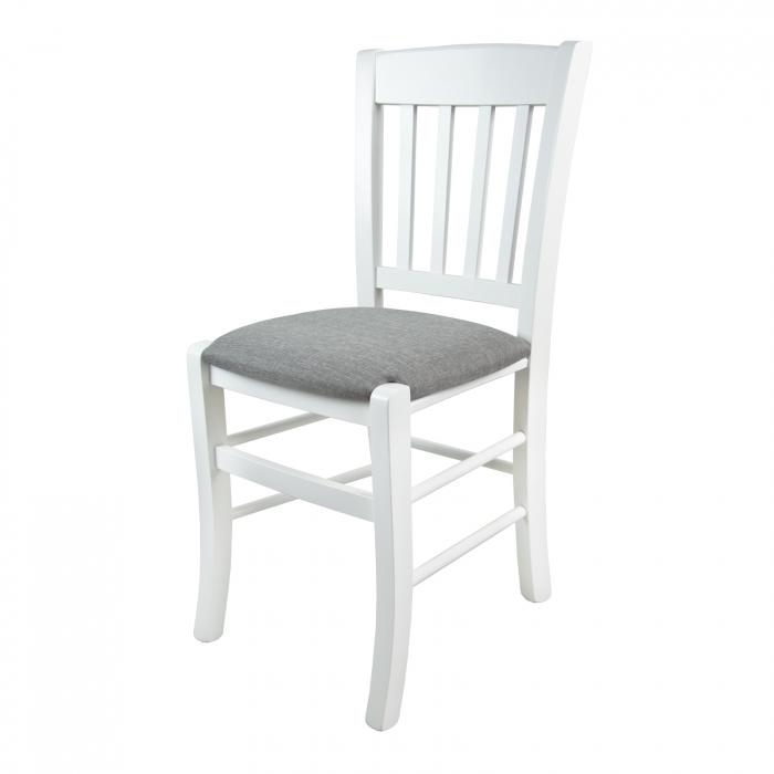 Scaun din lemn Madeira tapitat alb [5]