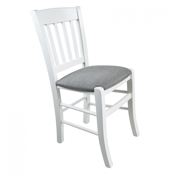 Scaun din lemn Madeira tapitat alb [0]