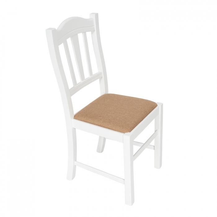 Scaun din lemn Silvana tapitat alb [0]