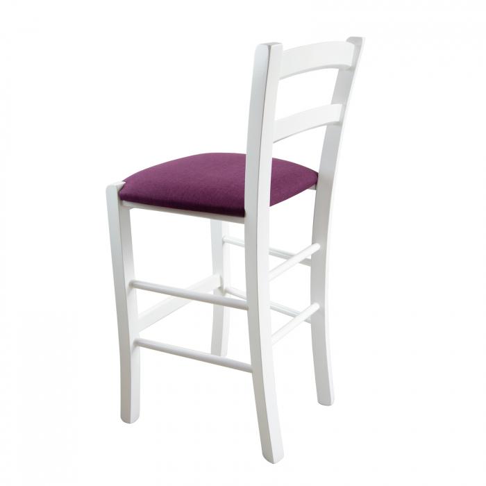Scaun din lemn Venetia bar tapitat alb [2]