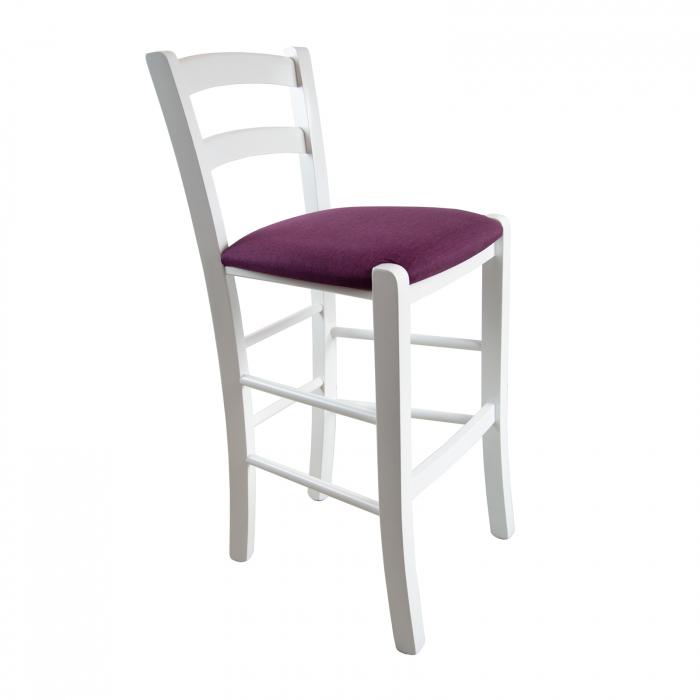 Scaun din lemn Venetia bar tapitat alb [0]