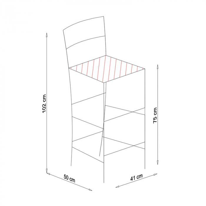 Scaun din lemn Venetia bar tapitat cires [8]