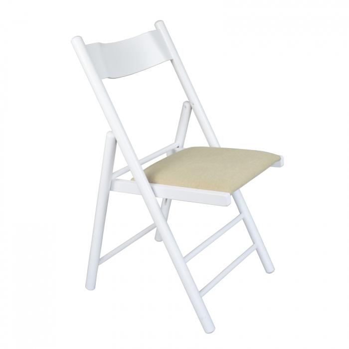 Scaun pliant din lemn Caprice tapitat alb [0]