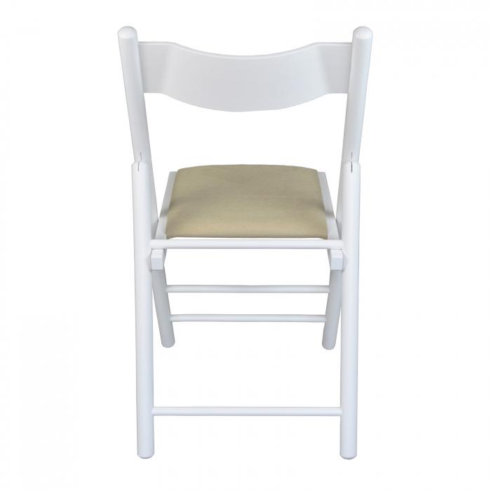 Scaun pliant din lemn Caprice tapitat alb [2]