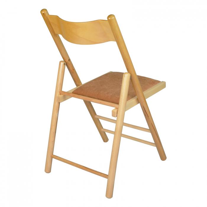 Scaun pliant din lemn Caprice tapitat natur [2]