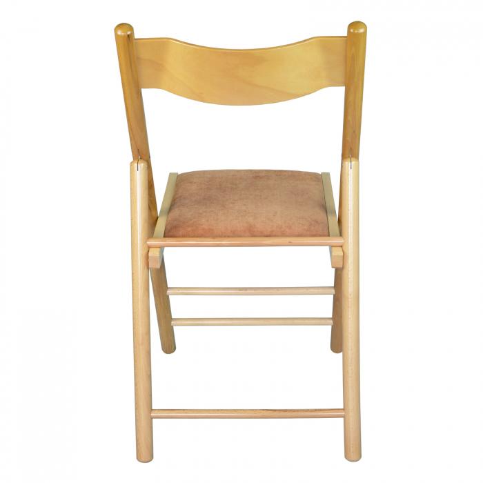 Scaun pliant din lemn Caprice tapitat natur [3]