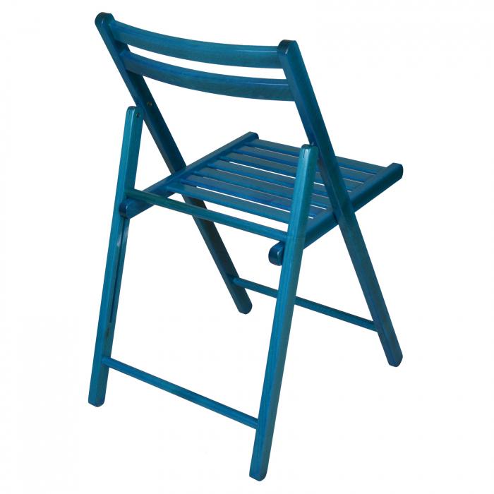 Scaun pliant din lemn IGOR albastru [2]