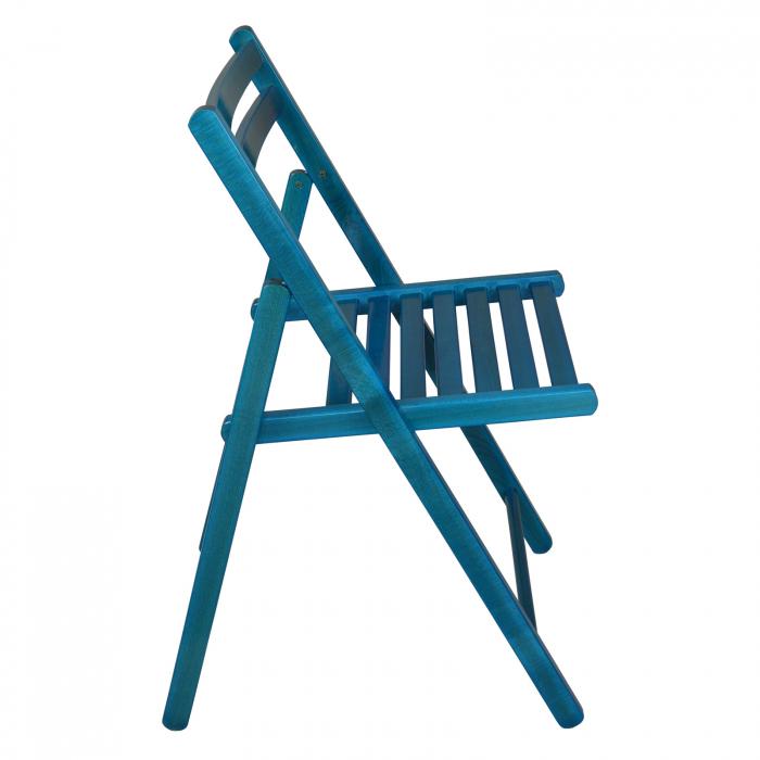 Scaun pliant din lemn IGOR albastru [1]
