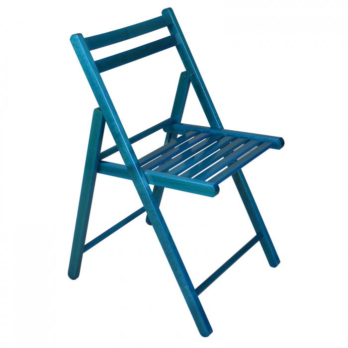 Scaun pliant din lemn IGOR albastru [0]