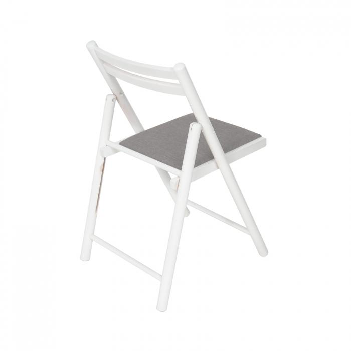 Scaun pliant din lemn IGOR R tapitat alb [2]