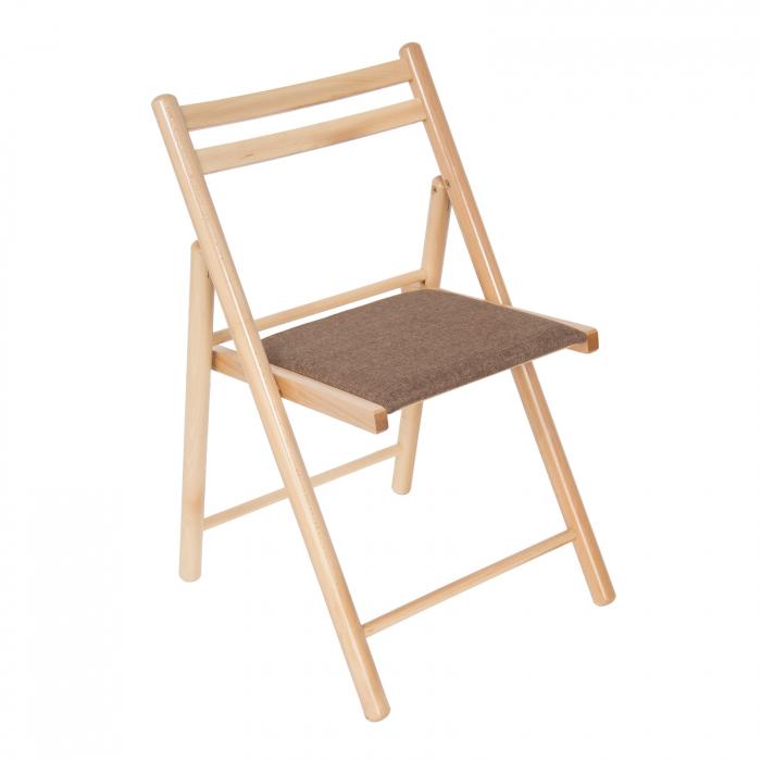 Scaun pliant din lemn IGOR R tapitat natur [0]