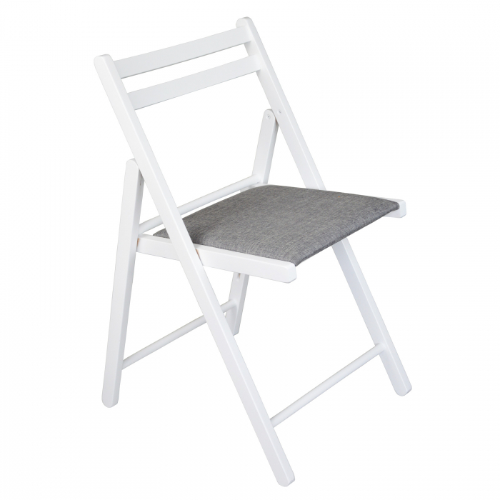 Scaun pliant din lemn IGOR tapitat alb [0]