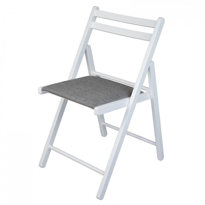 Scaun pliant din lemn IGOR tapitat alb [6]